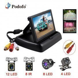 4.3 Inch Hd Foldable Car Rear View Monitor Reversing Lcd Tft Display With Night Vision Backup Rearview Camera For Vehicle Podofo /hoodmat.com