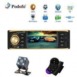 4.1 Inch 1 One Din Car Radio Audio Stereo Aux Fm Radio Station Bluetooth Autoradio With Rearview Camera Remote Control Podofo /hoodmat.com