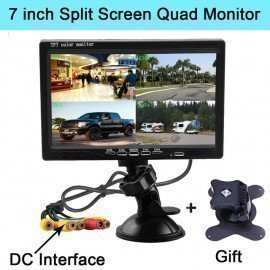 7 Inch Split Screen Quad Monitor 4Ch Video Input Windshield Style Parking Dashboard For Car Rear View Camera Car-Styling Podofo /hoodmat.com