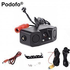 Video Parking Car Backup Led Reverse Rearview Camera With 2 Radar Detector Alarm Sensors Parking Assistant System Car Cam Podofo /hoodmat.com