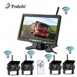 Wireless 4 Backup Cameras System With 7 Inch Car Rear View Monitor For Rv/Box Truck/Trailer/Tractor/Semi-Trailer Camera Podofo /hoodmat.com