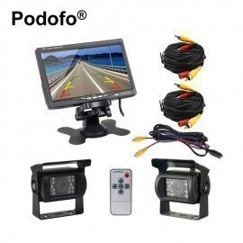 Dual Backup Camera And Monitor Kit For Bus Truck Rv Ir Night Vision Waterproof Rearview Camera + 7&Quot; Lcd Rear View Monitor Podofo /hoodmat.com