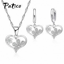 925 Sterling Silver Austrian Crystal Jewelry Sets Sweet Heart Pendant Necklace Huggie Earrings For Women Wedding Party Patico/hoodmat.com