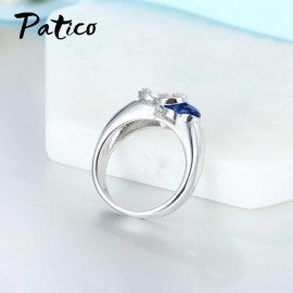 Blue Cz Crystal 925 Sterling Silver Finger Ring Heart Cubic Zirconia Stone For Women Engagement Anniversary Jewelry Gifts Patico/hoodmat.com