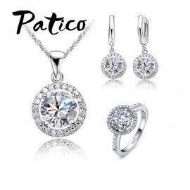 Luxury Women Wedding Necklace Earrings Ring Bridal Jewelry Set 925 Sterling Silver Aaa Zircon Crystal Anniversary Gift Patico/hoodmat.com