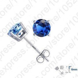 Real Pure 925 Sterling Silver High Quality Earrings Jewelry Women Accessories Cubic Zircon 4 Claws Stud Earrings 8 Colors Patico/hoodmat.com