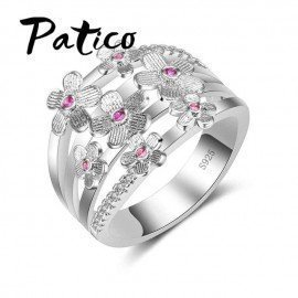 High Quality Elegance 925 Sterling Silver Wedding Bands Rings Pink Sakura Flower Jewelry Gifts For Women Anniversary Patico/hoodmat.com