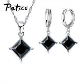 Classic Bridal Jewelry Sets For Brides Bridesmaid 925 Sterling Silver Shiny Cubic Zircon Cz Crystal Earrings Necklaces Patico/hoodmat.com