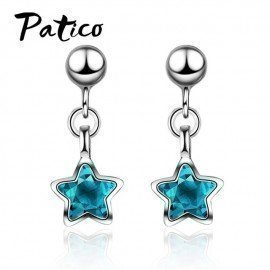 Attractive Classic Style Women Blue Star Pendant Drop Earrings 925 Sterling Silver Color Delicate Fashion Party Earrings Patico/hoodmat.com