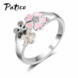 925 Sterling Silver Pink Flower Poetic Daisy Cherry Blossom Finger Ring For Women Engagement Wedding Fashion Jewelry Patico/hoodmat.com