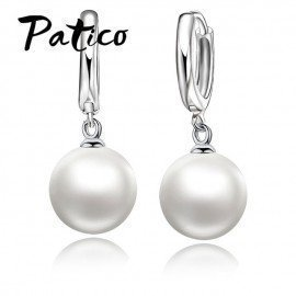 High Quality 925 Sterling Silver White Pearl Earrings Fashionable Earring Accessories For Women/Girls Jewelry Present Patico/hoodmat.com