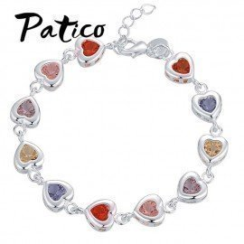 Hot Sale ValentineS Gift Shiny Multicolored Cz Zircon Crystal Heart Shaped Real 925 Sterling Silver Woman Girl Bracelet Jewelry Patico/hoodmat.com