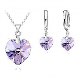 Romantic Violet Sw Crystal Ocean Heart 925 Sterling Silver Pendant Necklace Earring   Jewelry Set With Lever Back Earring Patico/hoodmat.com