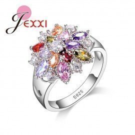 Fashion Jewelry Party Finger Ring Colorful Cz Crystal 925 Sterling Silver Women Wedding Engagement Rings Bijoux Patico/hoodmat.com