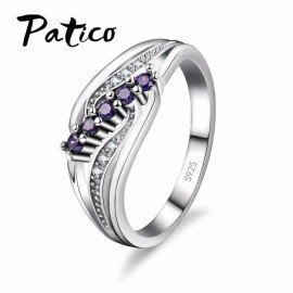 Luxuriant Bohemia Style Attractive Design Jewelry Purple Aaa Crystal 925 Sterling Silver Ring Wholesale  Patico/hoodmat.com