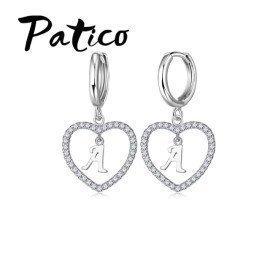 New Design Letter Pendant Heart Earrings 100% 925 Sterling Silver Cubic Zirconia Women Jewelry Rings  Patico/hoodmat.com
