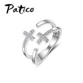 Latest 925 Sterling Silver Free Size Rings Shiny Cz Zircon Stones Double Cross Rhinestones Party Jewelry For Women Femme Patico/hoodmat.com