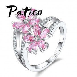 Fashion Two Colors Elegant 925 Sterling Silver Daisy Flower Rings Clear Pink Cz Crystal Stone Wedding Rings For Women Patico/hoodmat.com