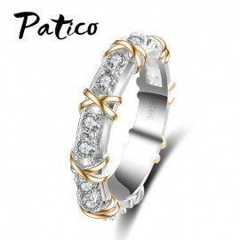 Classic X Tied Silver Jewelry Ring S925 Stamp Aaa Zircon Rhinestone Crystal Ring For Women Best LoversGifts Patico/hoodmat.com