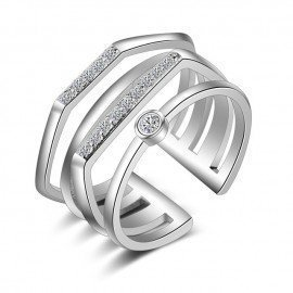Authentic 925 Sterling Silver Rings For Women Men Special Multi Layers Cz Crystal Wedding Party Jewelry High Quality Patico/hoodmat.com