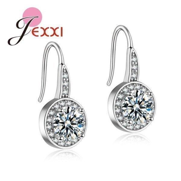 925 Sterling Silver Earrings Women Wedding Accessories Fashion Jewelry Cz Crystal Crystal Hook Earrings  Patico/hoodmat.com