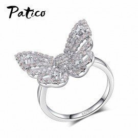 100% 925 Sterling Silver Pink Butterfly Animal Finger Ring For Woman Fashion Cubic Zirconia Crystal Jewelry For Women Patico/hoodmat.com