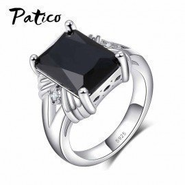 Classic 925 Sterling Silver Wedding Rings For Women&Amp;Men Black Square Cz Zirconia Finger Ring Female Christmas Party Gifts Patico/hoodmat.com