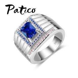 Mens Rings 925 Sterling Silver Wedding Rings For Women Luxury Blue Cubic Zirconia Width Finger Rings Fashion Jewelry Patico/hoodmat.com