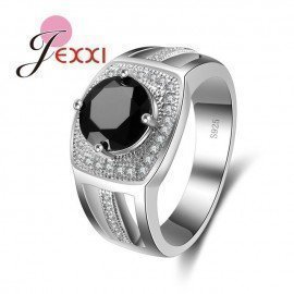 Best Party Jewelry Ring For Female Elegant Black Zirconia 925 Sterling Silver Wedding Engagement Rings Women Men Bijoux Patico/hoodmat.com