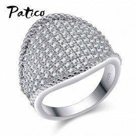 Big Rings For Men Rhodium Cubic Zircon &Amp;925 Sterling Silver Wedding Ring For Women New Fashion Jewelry Anel  Patico/hoodmat.com