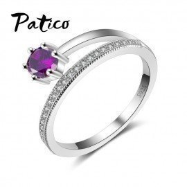 Female 925 Sterling Silver Finger Rings Full Shiny Cz Cubic Zirconia Stone Wedding Jewelry Accessories Patico/hoodmat.com