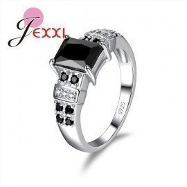 Fashion Rings For Women Trendy Lady Girl With Big Black Stone Crystal Ringer Ring 925 Sterling Silver Patico/hoodmat.com
