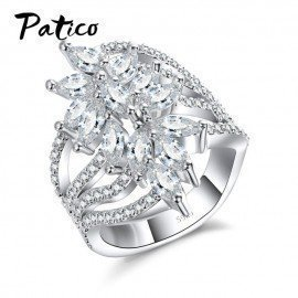 Classic Wedding Band Rings 925 Sterling Silver Engagement Jewelry For Female 5A Cubic Zirconia Flower Big Size Wide Bague Patico/hoodmat.com