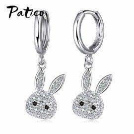 Lovely 925 Sterling Silver Hoop Earrings Full Rhinestone Cz Wedding Jewelry Accessories Cat Cute Animal Style Ear Gifts Patico/hoodmat.com