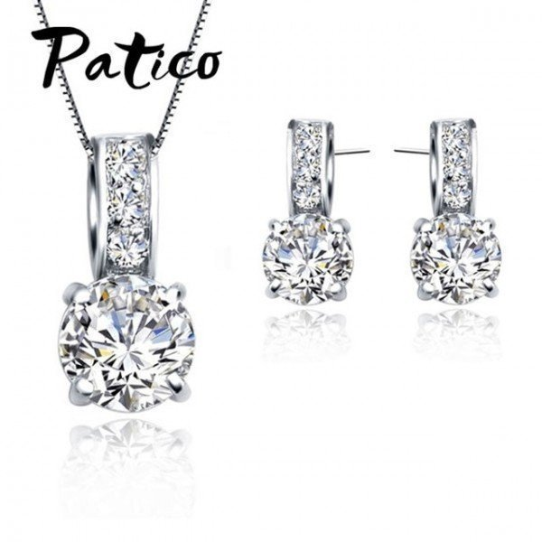 European Brand 925 Sterling Silver Cubic Zircon Pendant  Necklace/Earring Women Jewelry Sets Wholesale Patico/hoodmat.com