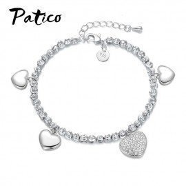 New Fashion Heart Pendant Bracelet Delicate Simple 925 Stamped Sterling Silver Color Women Jewelry Gift Patico/hoodmat.com