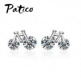 Bicycle Design Women Trendy Stud Earrings 925 Sterling Silver Hot Selling Fashion For Girls Students/Women Patico/hoodmat.com