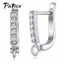 925 Sterling Silver Stamp Cz Austrian Crystal Hoop Earring Findings For Diy Jewelry Making Prevent Allergy Patico/hoodmat.com