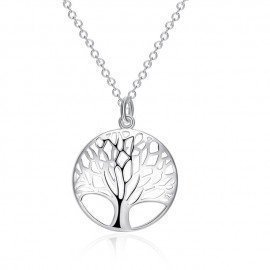 New Round Tree Fashion 925 Sterling Silver Pendant  Necklace For Women Female Hot Jewelry Simple And Elegant Gifts Patico/hoodmat.com