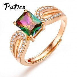 New Trendy Handmade Jewelry Rainbow Cz 925 Sterling Silver Open Rings Best Jewelry Party Gift For Women  Patico/hoodmat.com