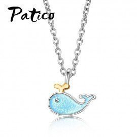 Attractive 100% Real 925 Sterling Silver Cute Love Dolphins Pendant Necklace Women Silver Jewelry MotherS Day Gift Patico/hoodmat.com