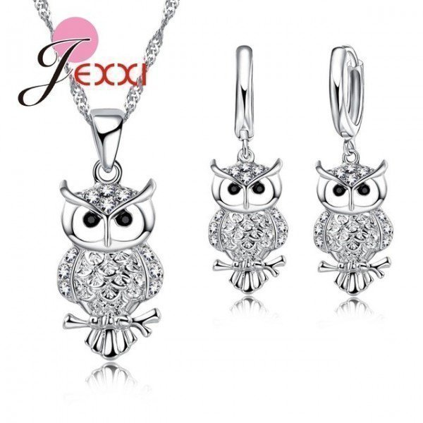 925 Silver Crystal Necklace Earrings Set Factory Price African Jewelry Sets Graceful Owl Shape Girl Ladies Gifts Patico/hoodmat.com