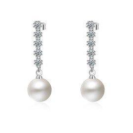 Elegant Ol Jewelry 925 Sterling Silver With Freshwater Pearl Long Tassel Cubic Zircon Crystal Design Stud Earrings Patico/hoodmat.com