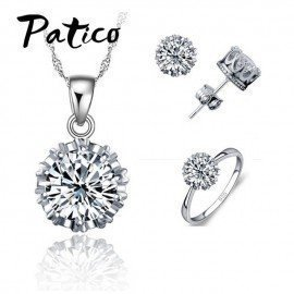 4 Ring Size Women Wedding 925 Sterling Silver Jewelry Sets Cz Cubic Zirconia Necklace Stud Earring Ring Set Wholesale Patico/hoodmat.com