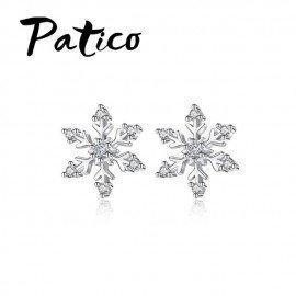 Women Classic Snowflake Stud Earrings 925 Sterling Silver Color Crystal Earrings For Wedding Engagement Party Jewelry Patico/hoodmat.com