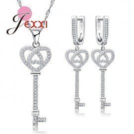 Real 925 Sterling Silver Cubic Zircon Paved Jewelry Sets For Female Lovers Heart And Key Design Bijoux Patico/hoodmat.com