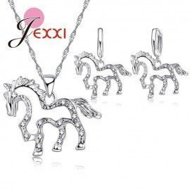 Cute Hollow Horse Cz Crystal Pendant 925 Sterling Silver Jewelry Sets For Women Girls Wedding Necklace Earrings Patico/hoodmat.com