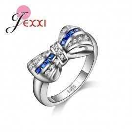 Elegant Jewelry 925 Silver Bague Bijoux Women Wedding Engagement Rings Blue Cubic Zircon Ring Patico/hoodmat.com