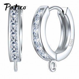 S925 Stamp Hoop Earrings 925 Sterling Silver Cubic Zirconia Austrian Crystal Diy Making Jewelry Accessory Earwire Finding Patico/hoodmat.com