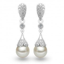 Elegant Classic  925 Sterling Silver Water Drop Earring Pearl Dangle Earrings Women Brincos Wedding Pearls Jewelry Patico/hoodmat.com